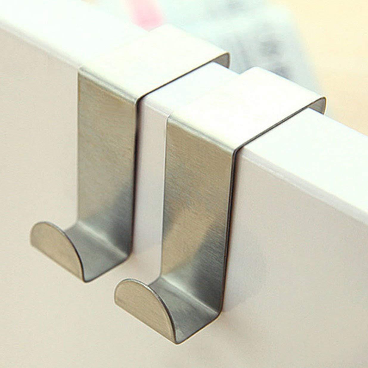 Astilla Ganchos para colgar en la puerta Toallero colgante Acero inoxidable Uso m/últiple en forma de Z Gabinete Ganchos para puertas Organizador de almacenamiento