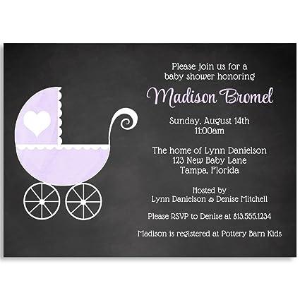 Amazon chalkboard carriage baby shower invitation purple chalkboard carriage baby shower invitation purple girl its a girl carriage filmwisefo