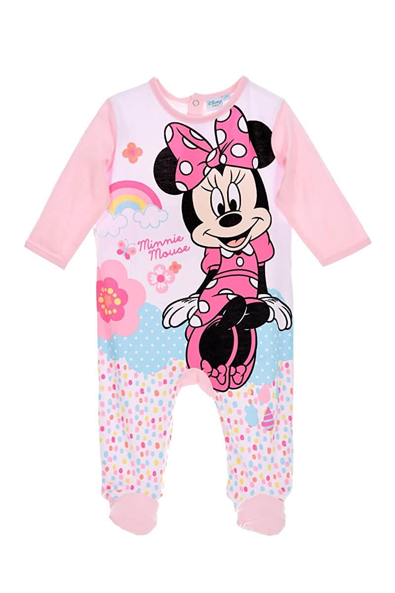 Disney Baby Babies Girl Minnie Mouse Sleepsuit Pyjamas Onesie 100% Cotton 0-24 Months - New 2018