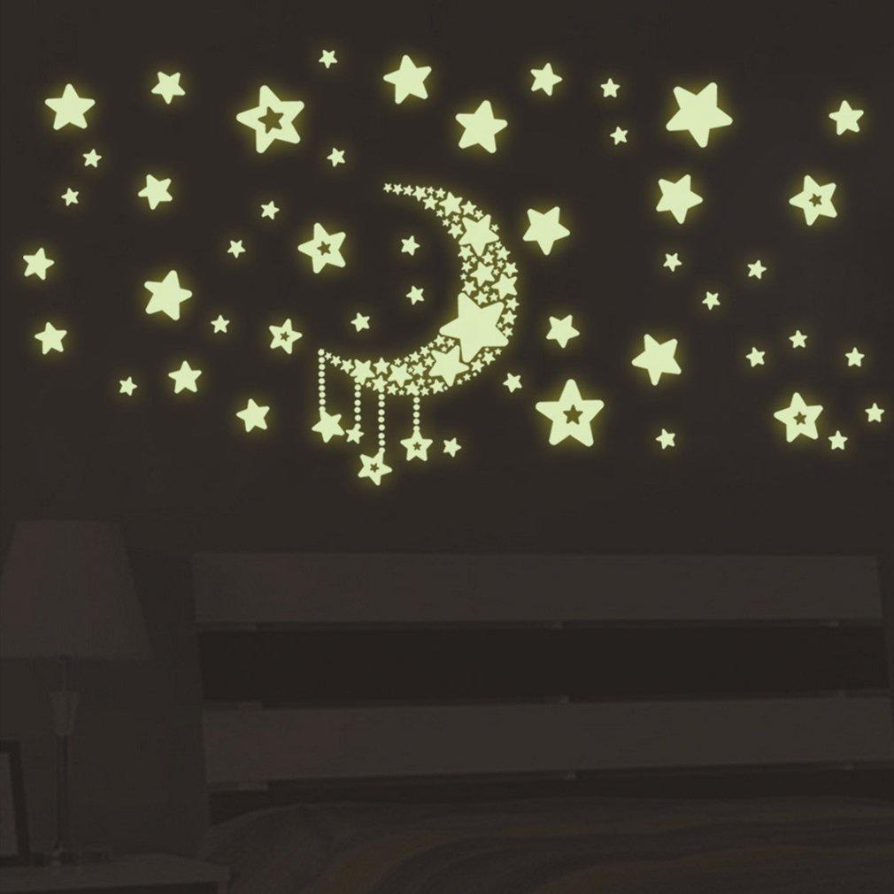 DIY Nachtlicht Glow In The Dark Mond Sterne Wandaufkleber Wohnkultur Aufkleber Kinder Schlafzimmer Fluoreszierende Wandaufkleber, Mond farbe FairytaleMM