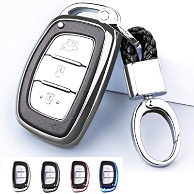 Mofei for Hyundai Key Fob Cover Shell Case TPU Protector Holder with Keychain Compatible with 2020 2020 Hyundai Tucson Elantra Sonata I40 IX35 I45 Smart 4 5 Buttons (Silver): Automotive