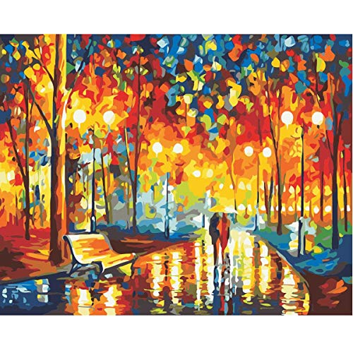 MXJSUA DIY Oil Painting Paint by Number Kit for Adult Kids with Brushes Acrylic Pigment Full Set Accessories Romance Under Umbrella 16x20in