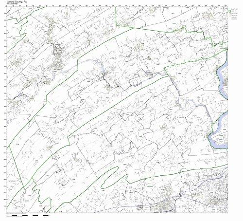 Juniata County, Pennsylvania PA ZIP Code Map Not Laminated