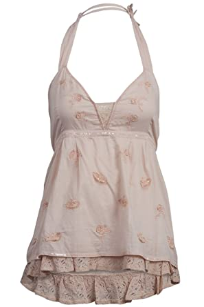 fb30deb728012 Uttam Boutique New Womens Nude Cotton Halterneck Butterfly Ladies Top Size  16