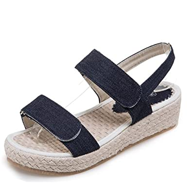 457711c4102 Easemax Women s Hook and Loop Open Toe Mid Wedge Heel Platform Ankle Strap  Sandals Dark Blue
