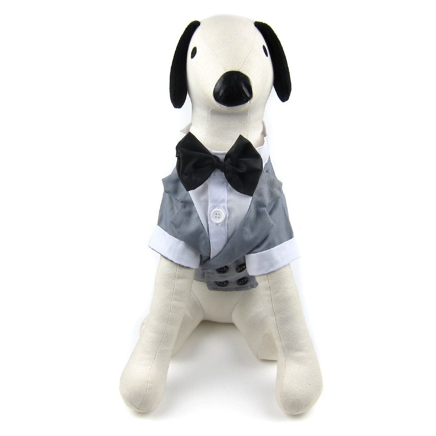 Grey Medium Grey Medium Alfie Pet William Formal Tuxedo with Black Bow Tie color  Grey, Size  Medium