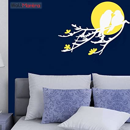 57a81b12b18 Buy WallMantra Birds   Moon Wall Sticker Premium Quality White   Yellow  Color Online at Low Prices in India - Amazon.in