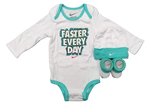 NIKE Infant Babys 3-Piece Bodysuit Hat   Booties Set (0-6 Months Hyper  Turquoise(IBSPN0543-3939) White)  Amazon.in  Baby 469f1bbabdc9