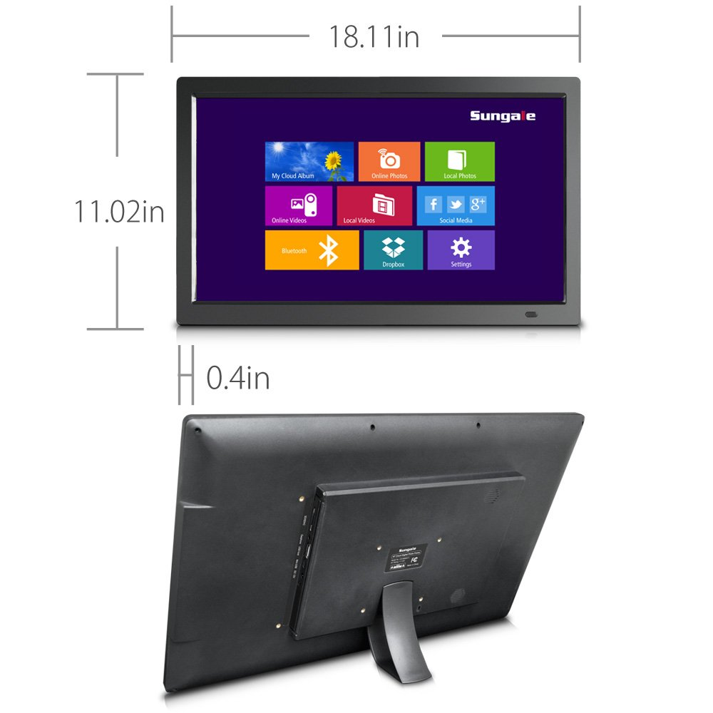 19'' WiFi Cloud Frame with Remote Control, 20GB Free Cloud Storage, Music, Movie, Social Media, Wall mountable