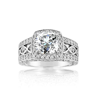Amazon Com 925 Sterling Silver Square Cz With Surrounding Stones