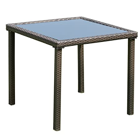 Tangkula Wicker Table Outdoor Patio Balcony Pool Garden Tempered Glass Top and Metal Frame Accent Side Table Patio Dining Table Coffee Tea Table Square
