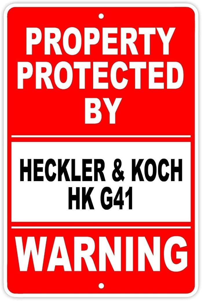 Fhdang Decor Protected by HECKLER & KOCH HK G41 - Letrero de aluminio para rifle de pistola, revólver de munición, metal, multicolor, 12x18 inches
