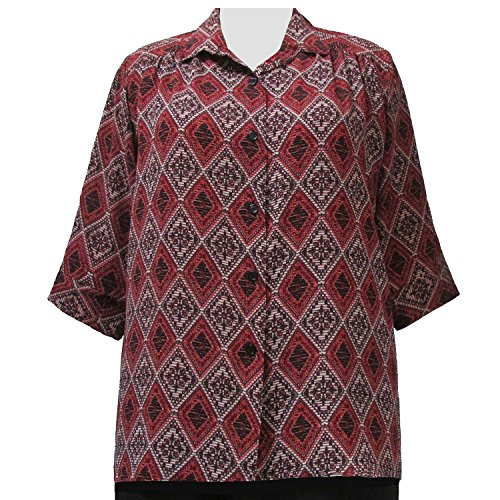 A Personal Touch Women's Plus Size Rust Kilim 3/4 Sleeve Button-Down Blouse with Shirring - 6X