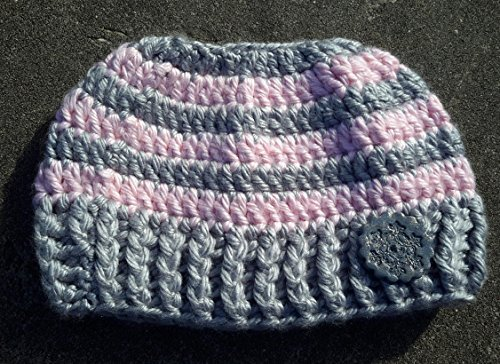 Pink and gray Striped Messy Bun Ponytail Hat with Snowflake Button