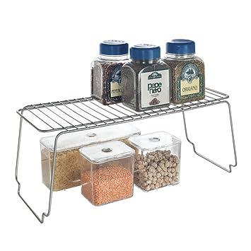Metaltex - Estante apilable de cocina, 45x19x18 cm, color gris: Amazon.es: Hogar