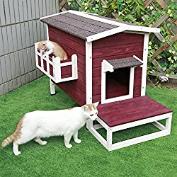Petsfit Outdoor Cat Shelter Large,Cat House / Condo With Escape Door Small Outside Small Dog House Red