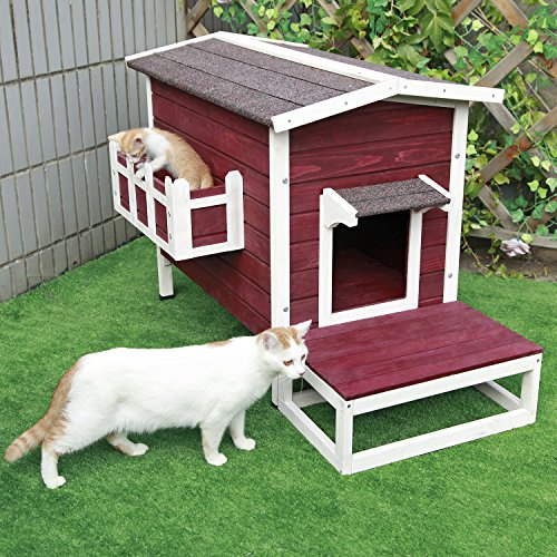 Petsfit Large Weatherproof Outdoor Cat House with Flowerpot, 1-Year Warranty