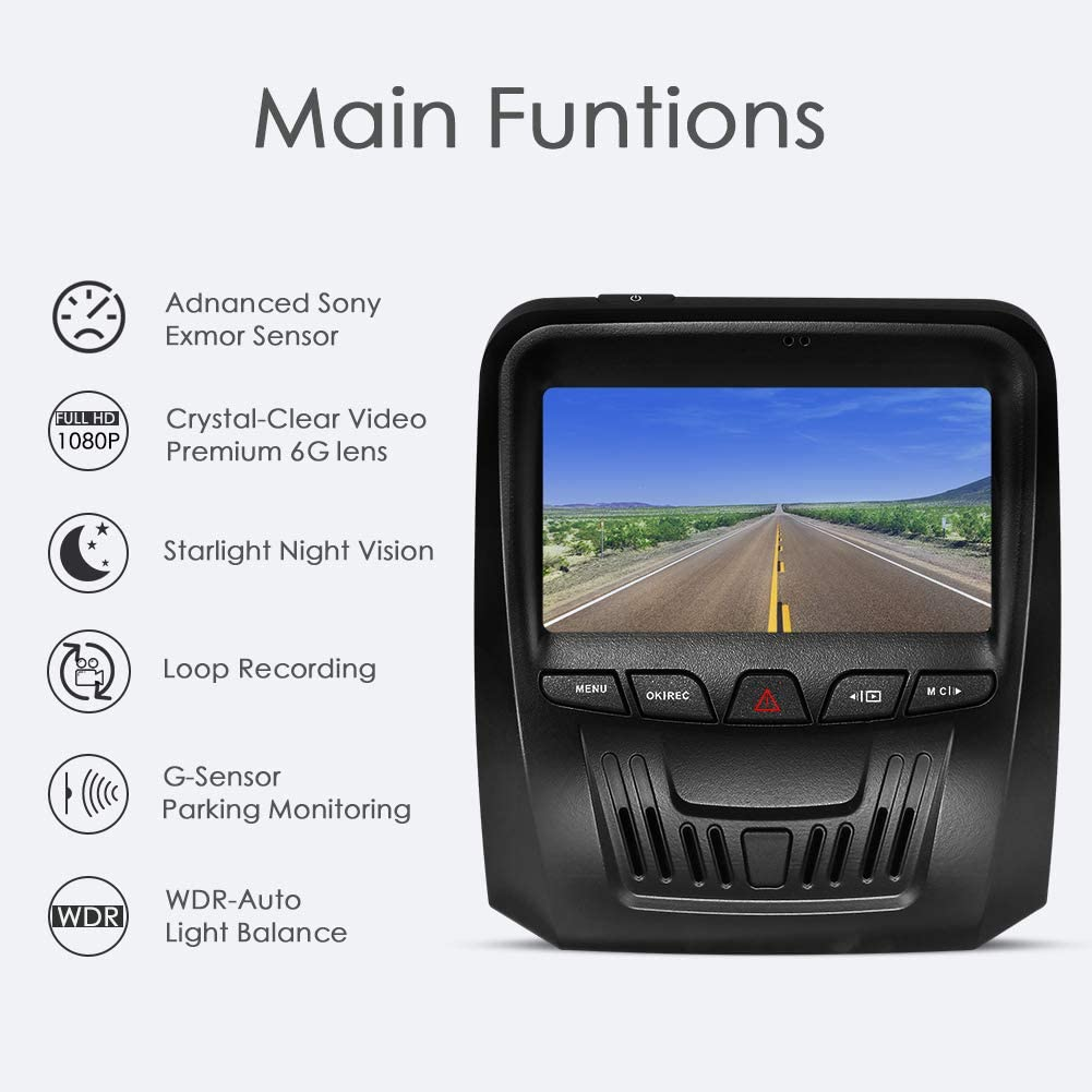 WDR Motion Detection Night Vision Parking Monitor G-Sensor ROSON Dash Cam 1296P FHD DVR Car Driving Recorder 3 Inch IPS Screen 170/° Wide Angle Loop Recording