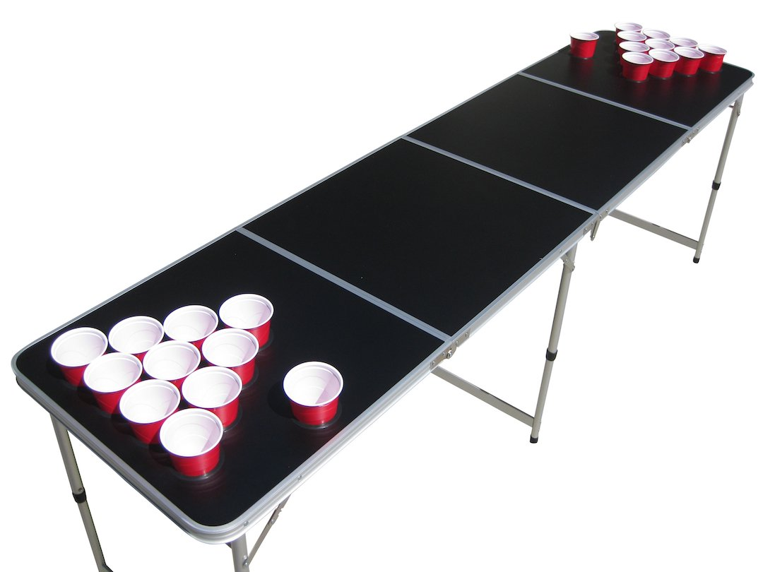 Blank Black Plain Customizable Beer Pong Table with Predrilled Cup Holes by The Pong Squad