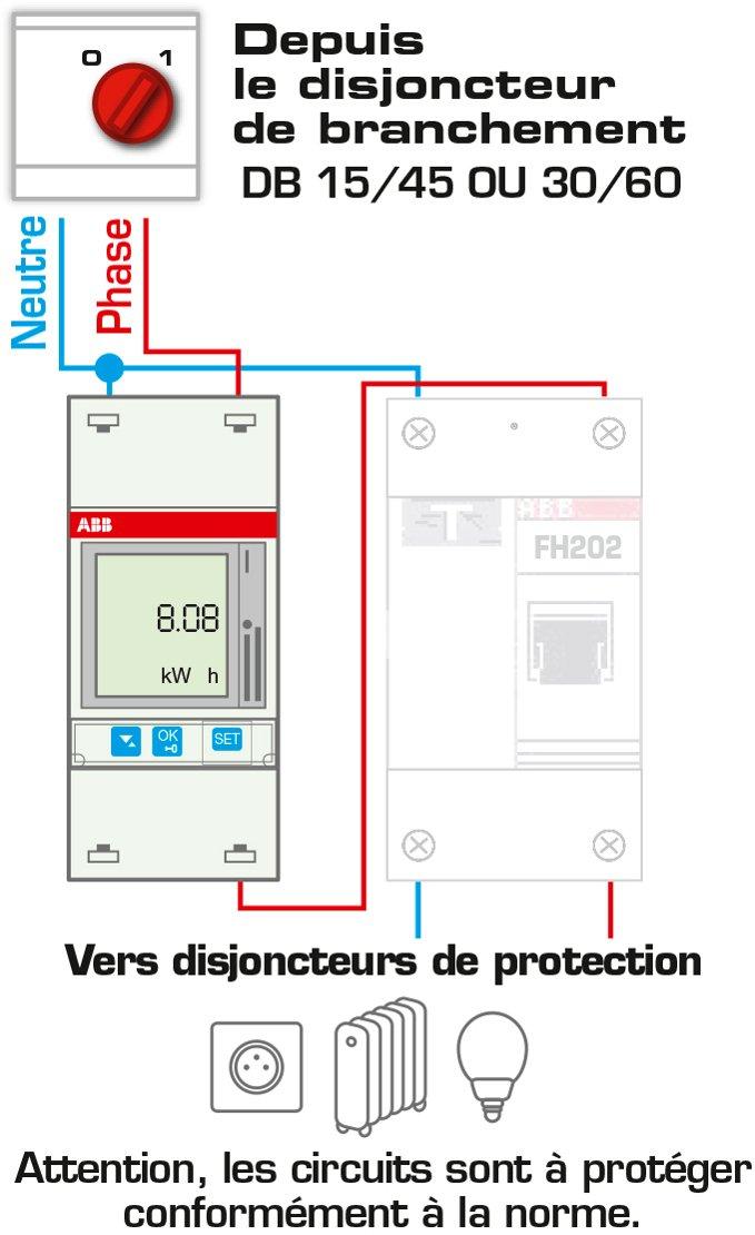 ABB ABB832111GSB Compteur d /énergie monophas/é 65 amp/ères Gris