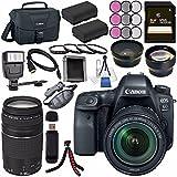 Canon EOS 6D Mark II DSLR Camera with 24-105mm f/3.5-5.6 Lens 1897C021 + Canon EF 75-300mm III Lens + LPE-6 Lithium Ion Battery + 128GB SDXC Card + Canon 100ES EOS shoulder bag + Tripod + Flash Bundle