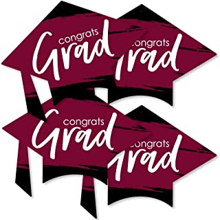 product image for Big Dot of Happiness Maroon Grad - Best is Yet to Come - Grad Cap Decorations DIY Burgundy Graduation Party Essentials - Set of 20