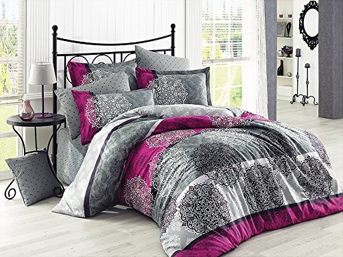 Pandion - Cotton Bedding Set (Duvet Cover + Bed Sheet + 2x Pillow Cases) - Cabana Striped with Mandala Floral Pattern Vintage Design, Queen Size, Purple Gray Black ()