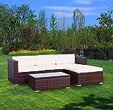 YOUKE 5 PCS Patio PE Rattan Wicker Sofa Sectional Furniture Set,Garden Lawn Pool Backyard Outdoor Sofa Wicker Conversation Set White