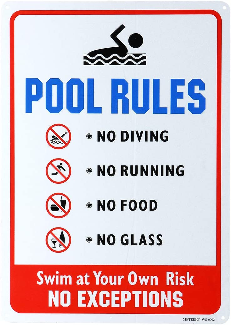 METERIO Pool Rules Sign, No Diving No Running No Food No Glass, 10x14 Rust Free Aluminum, Weather/Fade Resistant, Easy Mounting, Indoor/Outdoor Use for Swimming Pools