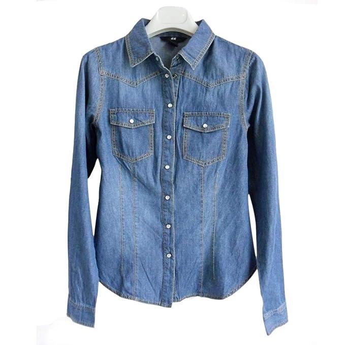 6bd2e0e0e3a ADLISA Women s Fitted Classic Button Closure Long Sleeve Blouse Lapel Denim  Shirt Tops Pullover Top (