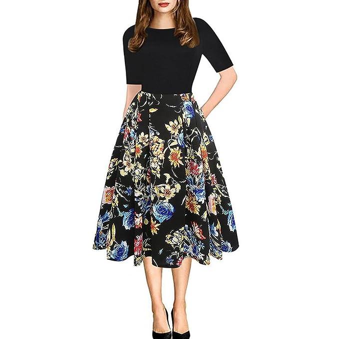 Sannysis De las mujeres Moda Escote redondo Vestir Delgado Impresión Hepburn Vestir, Mujer Vestido de Fiesta Cuello Estampado de Floral Largos Vestido de ...