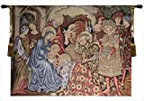 Charlotte Home Furnishings 7951-11110 Nativity Adoration Tapestry Cushion Wall Hanging - Red, H 19 x W 25