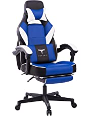 TOPSKY High Back Racing Style Executive Computer Gaming Office Chair Ergonomic Reclining Design with Lumbar Cushion Footrest and Headrest ACA073