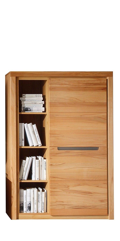 trendteam smart living Wohnzimmer Highboard Schrank Zino, 98 x 139  x 37 cm in Korpus Kernbuche (Nb.), Front Kernbuche Massiv mit vier offenen Fächer