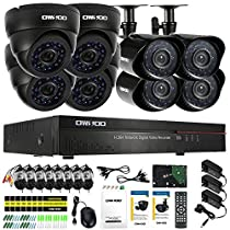 OWSOO 1TB 16CH CIF 800TVL CCTV Surveillance DVR Security System HDMI P2P Cloud Network Digital Video Recorder& 4Indoor Dome Camera&4Outdoor Weatherproof Bullet Camera&860ft Cable support IR-CUT
