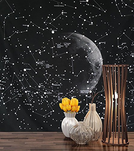 Starry Sky Tapestry Black Universe Galaxy Wall Hanging Tapestry for Bedroom Living Room Dorm Mandala Bohemian Wall Art Sky Scenery Lights and Star Theme Print Decoration Art (Coordinate, -