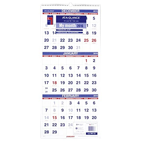 amazon com at a glance wall calendar 2016 vertical 3 month