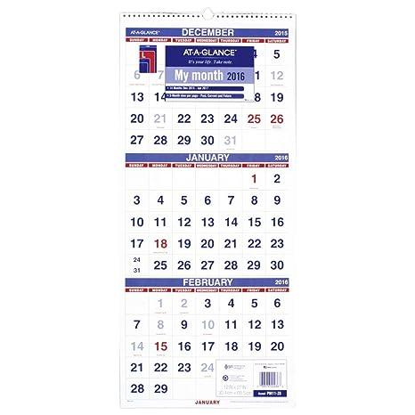 AT A GLANCE Wall Calendar 2016 Vertical 3 Month
