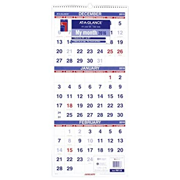 AT-A-GLANCE Wall Calendar 2016, Vertical, 3-Month Reference, 14 ...