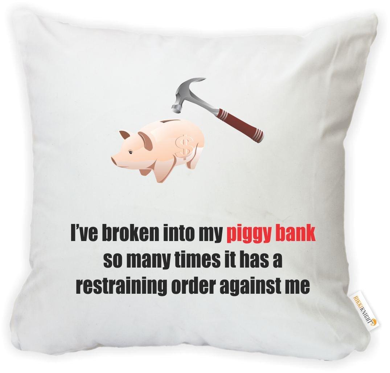 Rikki Knight 16 x 16 inch Rikki KnightPiggy Bank Restraining Order Microfiber Throw Pillow Cushion Square with Hidden Zipper Insert Included Printed in The USA