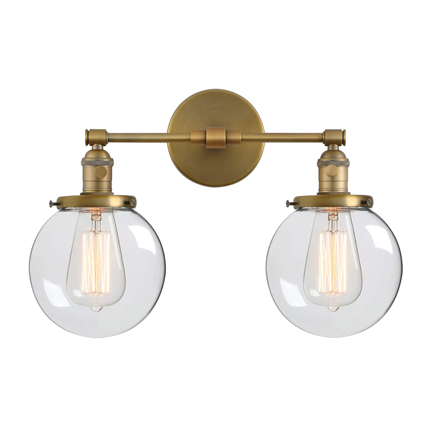 Phansthy double sconce vintage industrial 2 light wall light with 5 9 clear glass canopyantique amazon com