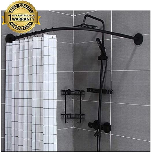 Amazon Com M Top Shower Rod Tension Curved No Drill L Shaped