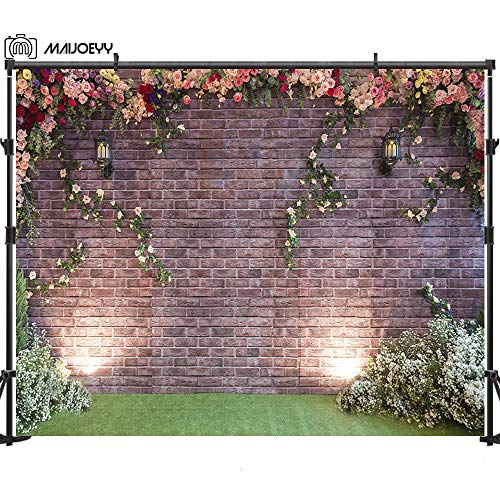 Maijoeyy 7x5ft Brick Wall Photography Backdrop Garden Flower Backdrop for Picture Photography Props Birthday Party Decoration Backdrop for Photography Brick Wall Backdrop Studio Photo Props -