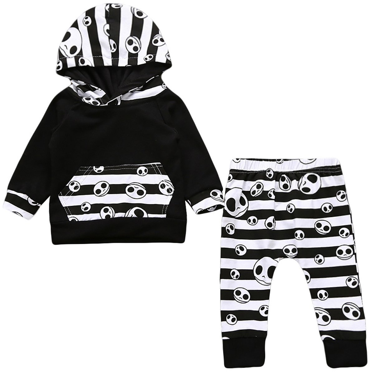 Flower Tiger Newborn Baby Boys Girls Skull Bone Hoodie Legging Pants Outfit Set