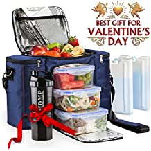 Meal Prep Lunch Bag   Insulated Lunch Box For Men   Women + 3 Large  Leak-proof Food Containers (45 Oz.) + 2 Large Reusable 3fa5539cbf0ef