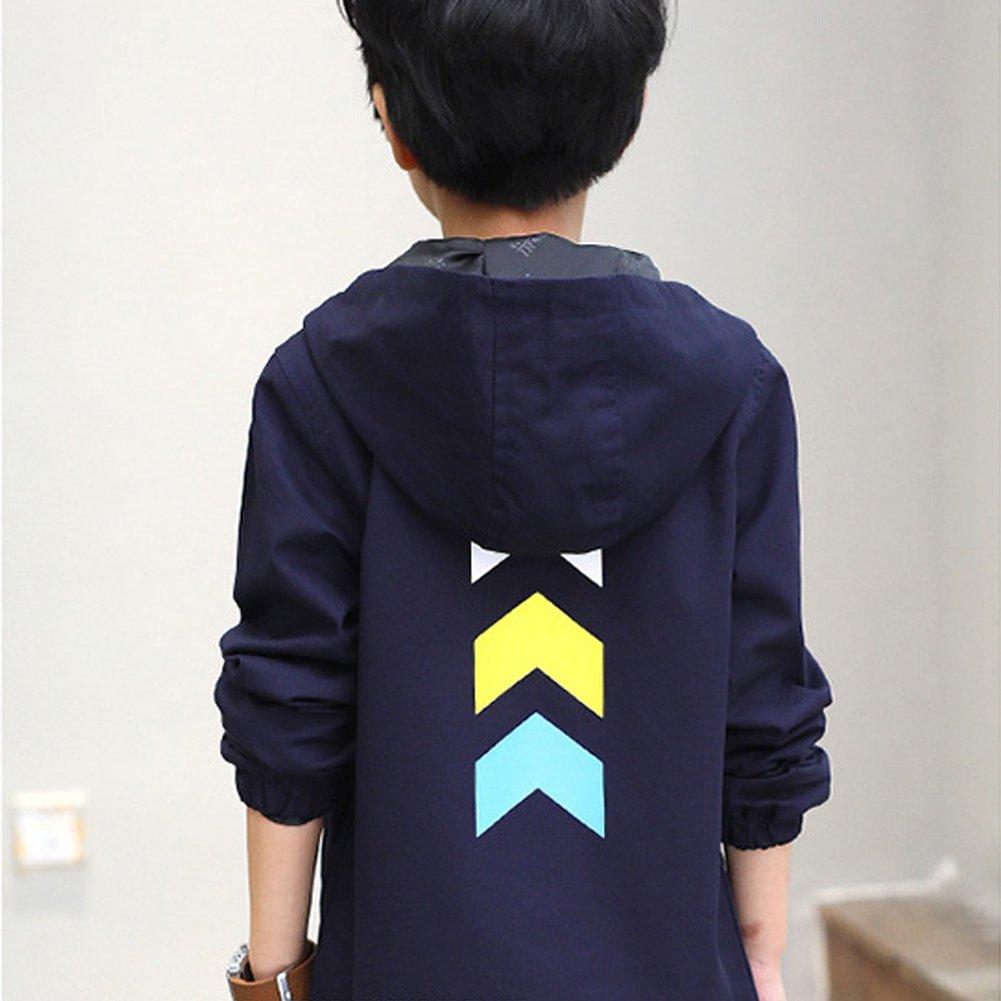 M/&A Boy Windbreaker Jacket Spring Autumn Long Outwear with Hood