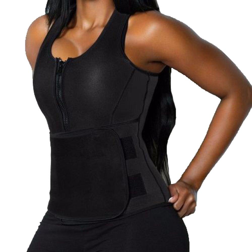 3-5 Days Delivery Women's Neoprene Sauna Suit Tank Top Vest with Zipper Slimming Body Shaper Waist Trimmer with Adjustable Waist Trainer Slim Belt Corset Workout Shapewear