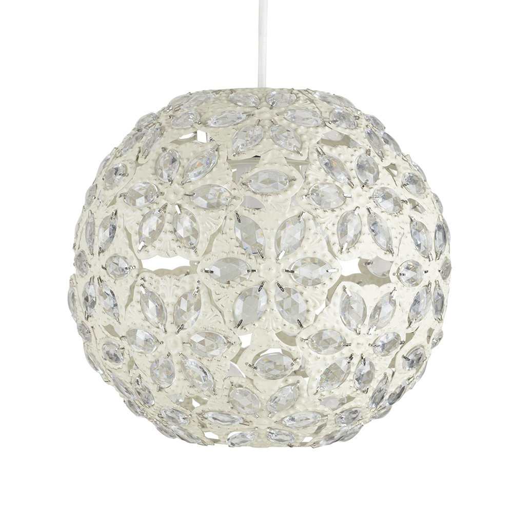 Contemporary Moroccan Style Shabby Chic Cream Metal Jewelled Ball Ceiling Pendant Light Shade MiniSun