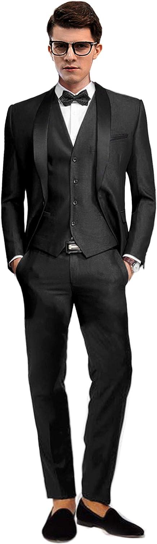 Setwell Groom Tuxedos Groomsmen Best Man Blazer Mens Wedding Suits 3 Pieces
