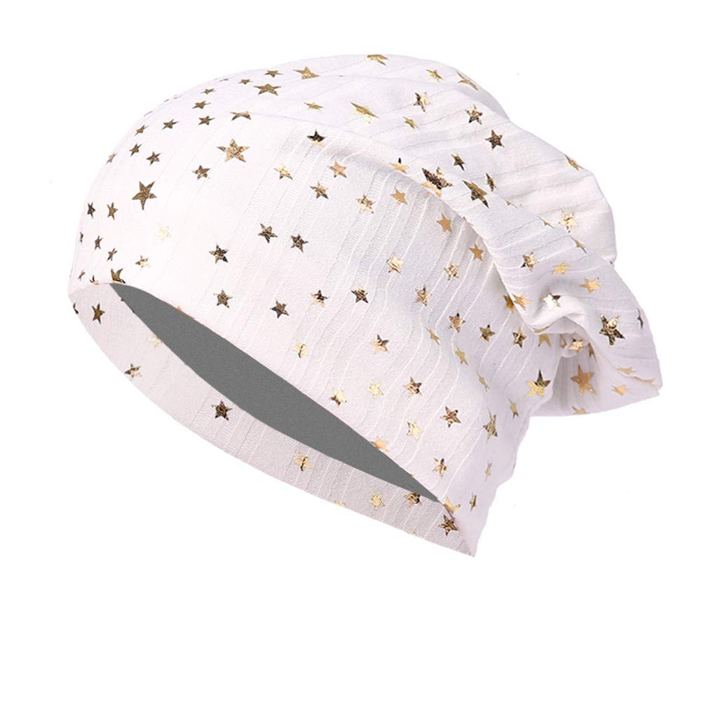 TOOPOOT Skull Caps Men Star Indoors Cotton Slouchy Beanies Soft Knit Slouchy Cap Skull Hat Cap (White)